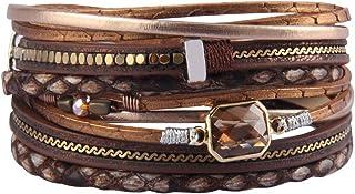 Bfiyi Leather Wrap Bracelet Casual Crystal Cuff Bracelet...