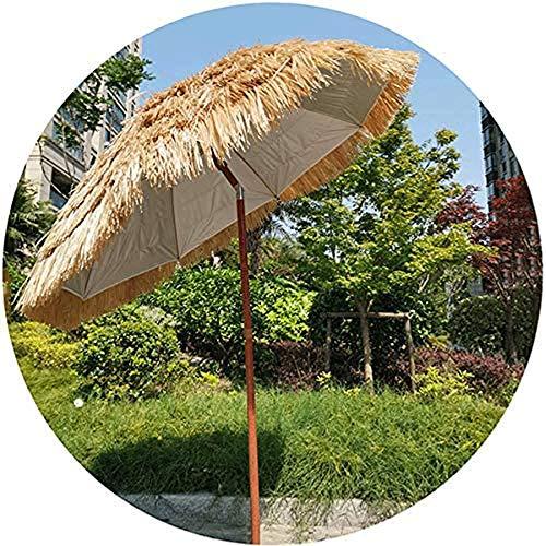 XWX La Inclinación De 6.5 Pies De Hawai Paja Paraguas Paraguas De La Paja De Hula Paraguas Paraguas Rafia Ronda Paraguas Al Aire Libre