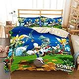 AMCYT Juego de ropa de cama 3D Sonic The Hedgehog, 100% microfibra, 1 funda nórdica estampada y 2 fundas de almohada Shams (Sonic #06,220 x 240 cm)