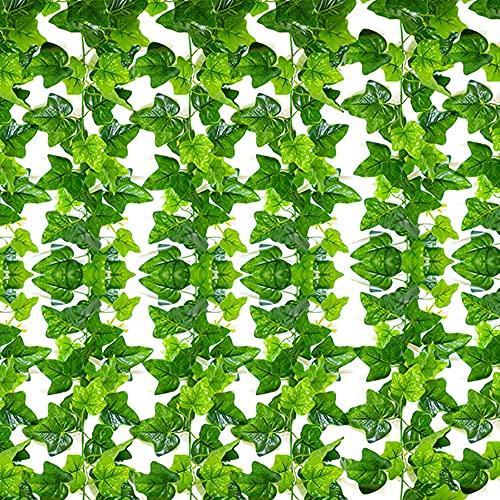 SunTop Plantas Artificial Decoración Hojas, Hiedra Artificial, 2.1 m -12
