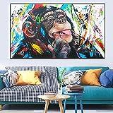 DCLZYF Pintura Colorida de la Lona de la Pintada Carteles e Impresiones Lindos del Mono Cuadros del Arte de la Pared para la decoración del hogar de la Sala de Estar -60x80cm (sin Marco)