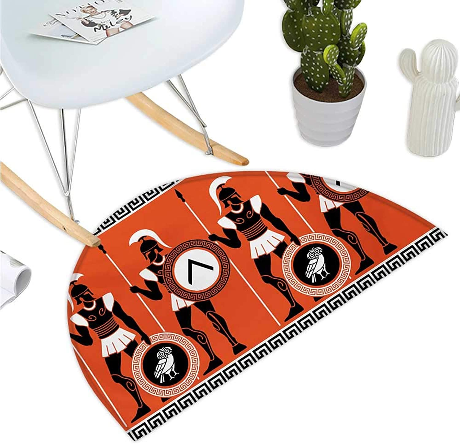 Toga Party Semicircular Cushion Artistic Historical Figures in Ancient Greece Theme Mystical Cultures Entry Door Mat H 47.2  xD 70.8  orange Black White