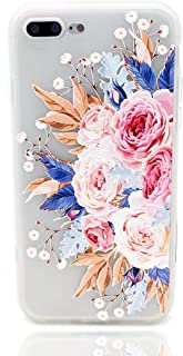 iPhone 8 Plus Case,iPhone 7 Plus Case,Tropical Colorful Flower Printed Slim Fit Case for Girls Soft Bumper Shockproof Matte Back Cover Pink Rose Design for iPhone 8 Plus iPhone 7 Plus Blossom
