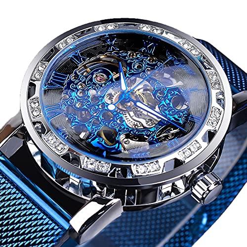 Excellent Reloj clásico de Esqueleto del Esqueleto mecánico para Hombres con marcadores de Diamantes de imitación de Cristal de dial Esqueleto y Reloj de Lujo de Banda de Acero Inoxidable,A01
