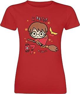 HARRY POTTER Chibi Harry Mujer Camiseta Rojo, Regular