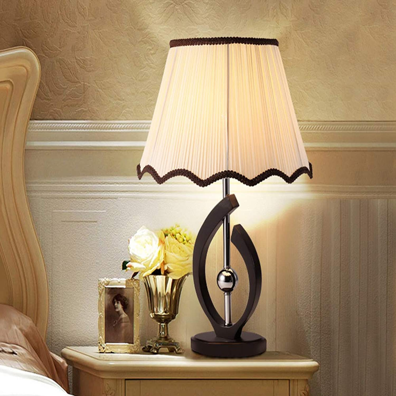 Table lamp Moderne minimalistische Mode amerikanische Massivholztischlampe Schlafzimmer Bett Stoff Stoff Lesebeleuchtung