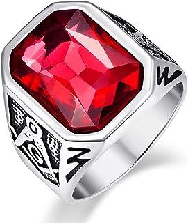 VAKKI خاتم من الفولاذ المقاوم للصدأ الماسونيك للرجال مرصع بالكريستال الأزرق/الأخضر/الأحمر مستطيل الحجم 7-12