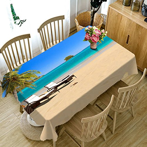 XXDD 3D tablecloth seaside beach landscape pattern dustproof rectangular tablecloth Christmas and New Year gifts A6 135x160cm