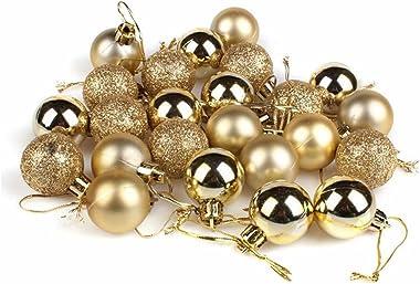 GOOTRADES Set of 24 Mini Shatterproof Christmas Balls Tree Ornaments Party Decoration, 3cm/1.18'' (Gold)