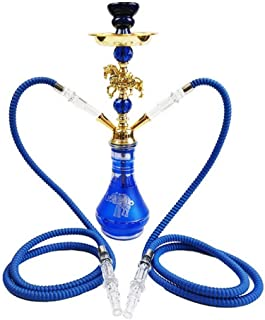 Hookah Shisha Pipe Set Animal Decoration Hookahwith Double Hose Narguile Accessories for Outdoor Travel Gift(Blue)