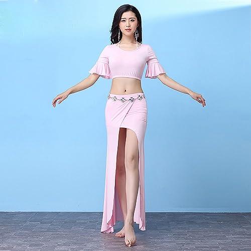 Xueyanwei Lady Professional Belly Dance Costumes Danse Indienne Robe Compétition De Danse Exercice Vêtements Robe De Perforhommece,rose,M