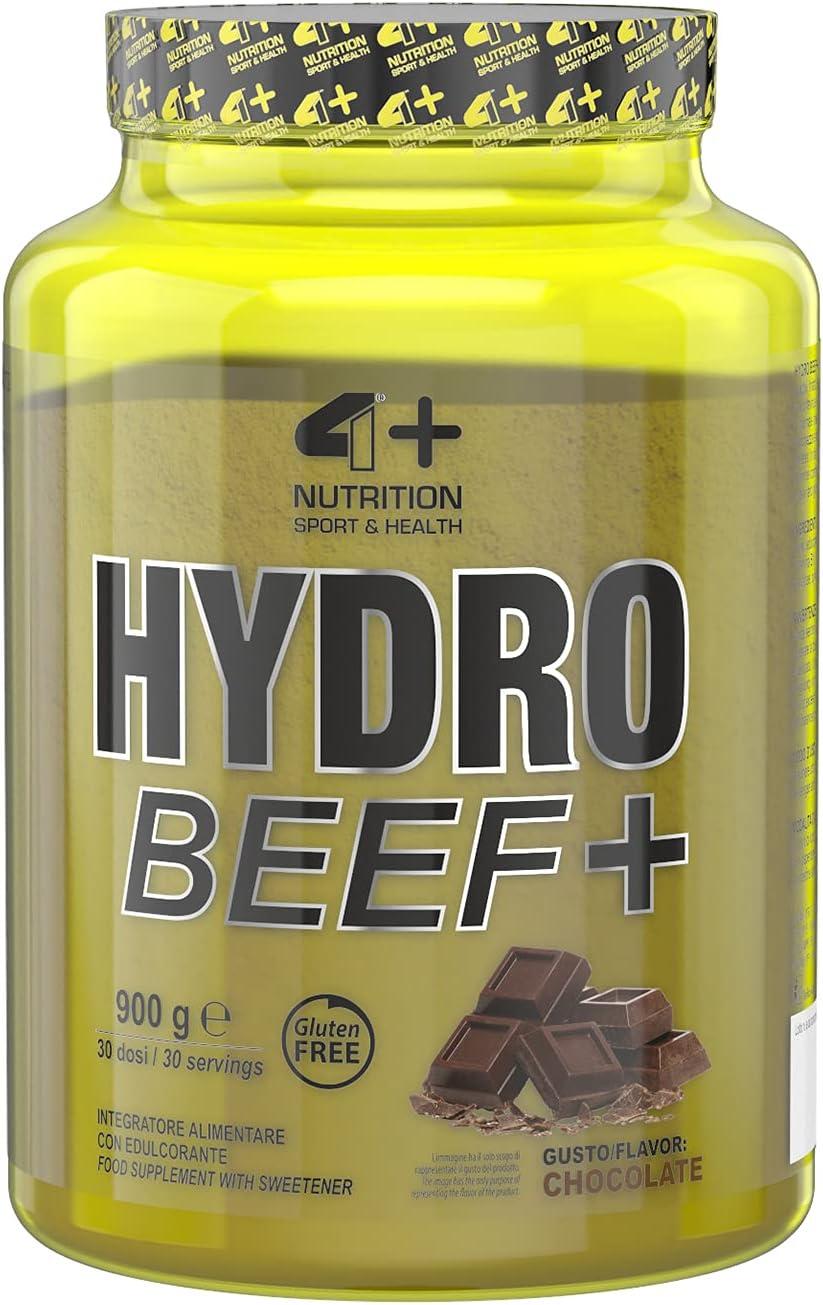 4 Sport Nutrition Hydro Beef+ Paquet de 1 x 900g Proteína de Carne Aminoácidos BCAA Fortalecimiento Muscular Polvo (Chocolate)