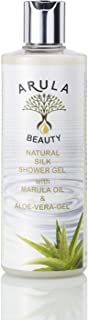 Arula Natural Shower Gel. Enriquecido con gel de aloe vera y aceite de marula para pieles sensibles y secas. Alto en antioxidantes naturales. Sin sulfatos, sin silicona y sin parabenos.