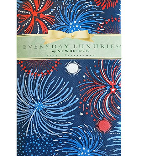 """Newbridge Fireworks Celebration Vinyl Flannel Backed Tablecloth - Americana Patriotic Red, White and Blue Fireworks Indoor/Outdoor Party Tablecloth - 60"""" x 120"""" Oblong/Rectangle"""
