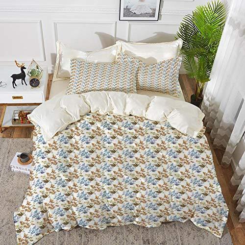 Luoquan 3 Piece Bedding Set,Garden Art,Rustic Theme with Leafy Branches Autumn Season Theme Rural Countryside Pattern,Multicolor,1 Duvet Cover Set240 x 260,2 pillowcase 50x80cm