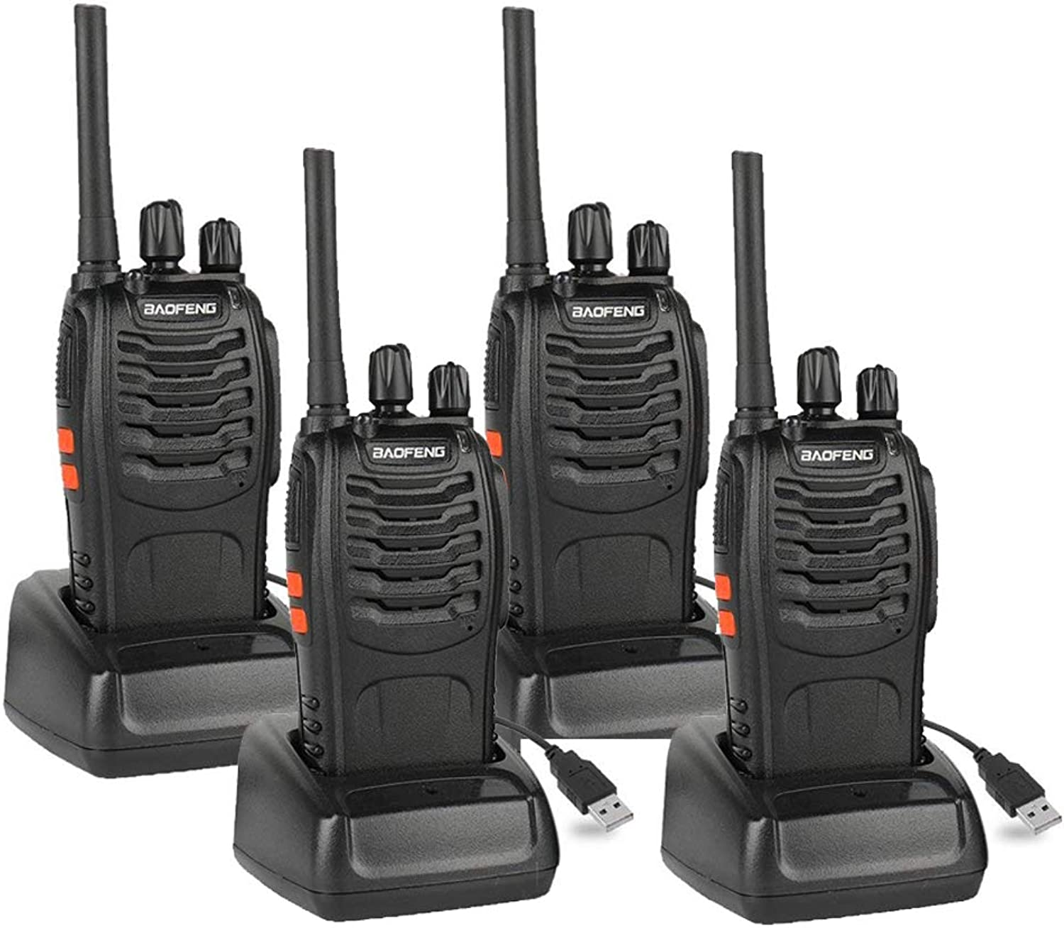 Baofeng BF88A FRS Radio Walkie Talkie 16Channel Rechargeable Two Way Radio with Earpiece, LED Flashlight and USB Charger, 4 Pack