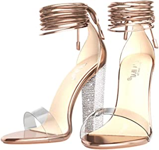 Rose Gold Clear Block Heels Sandals for Women Lace Up Strappy Heels with Ankle Strap Sexy Party Heels