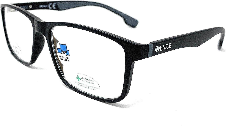 New Model Gafas de lectura con filtro bloqueo luz azul para gaming, ordenador, móvil. Anti fatiga RACE unisex venice (Negro, +3,00)