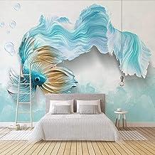 XIAOHUKK Papel tapiz autoadhesivo 3d mural moderno abstracto pez azul arte mural calcomanías de pared sala de estar dormit...