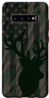 Galaxy S10+ Whitetail Buck Deer Hunting American Camouflage USA Flag Case