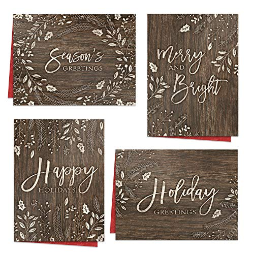 """Rustic Holiday Card Assortment / 24 Wood Carved Style Greetings / 6 1/4"""" x 4 5/8"""" Woodgrain Christmas Note Cards"""