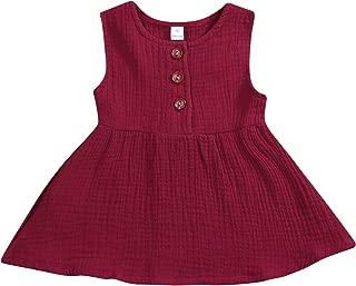 GSHOOTS Baby Girls' Sleeveless Dress Toddler Girls Linen Dress Infant Girl Solid Dress Newborn Girl Button Dress