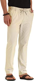 Men's Linen Cotton Drawstring Casual Summer Pants