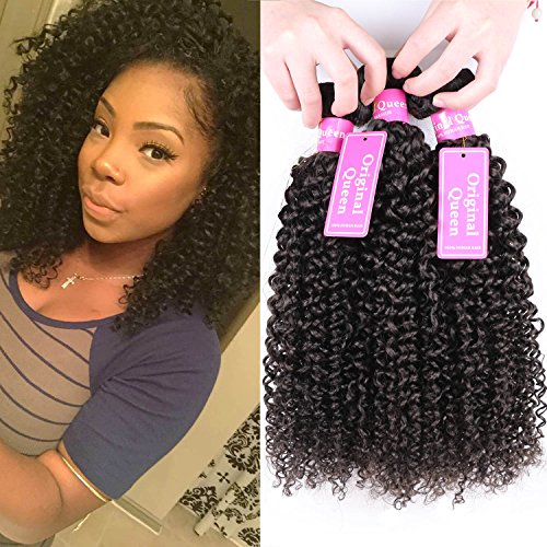 Original Queen 100% Brazilian Unprocessed Virgin Kinky Curly Human Hair Weave 4 Bundles Deep Curly Hair Extensions Mixed Length 14 14 14 14inches