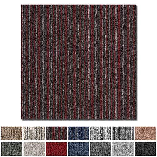 Teppichfliesen Vienna selbstliegend | Rücken: Bitumen, rutschhemmend | Strapazierfähig | Bodenbelag für Büro und Gewerbe | 50x50 cm | Viele Farben (Rot Gestreift)