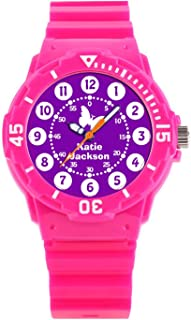 Kids Watches Childrens Analog Wrist Watch 50M Waterproof Watch with 247.Kids Girls Purple & White Full Name Wrist Watch (Pink)