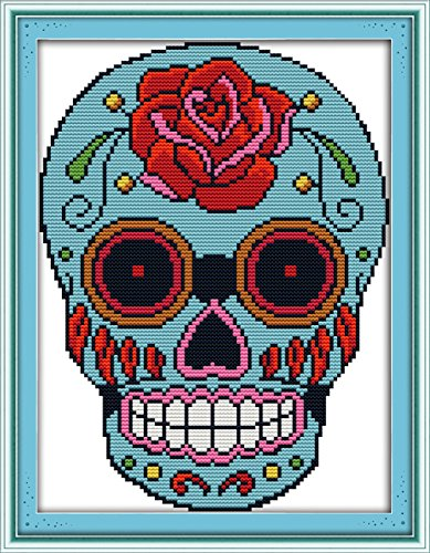 eGoodn Cross Stitch Stamped Kits 11ct Fabric 11 inches by 15.4 inches Cross-Stitching Accurate Pre-Printed Pattern - Skull, Handmade Needlework Set Embroidery DIY Home Decoration No Frame