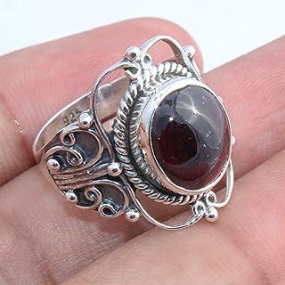 Garnet Gemstone 925 Sterling Silver Rings Handmade Jewelry