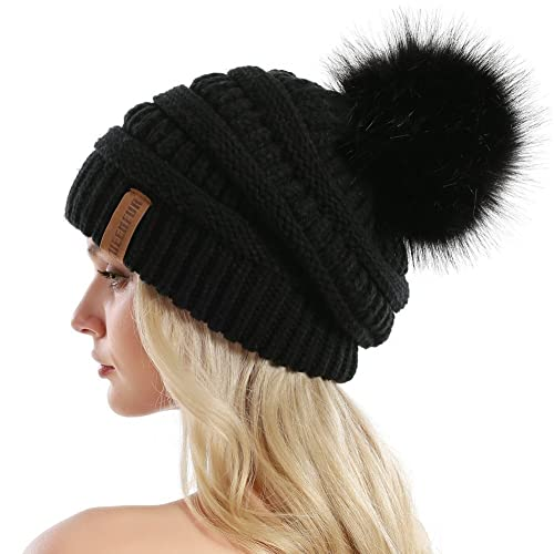 96fa21d70b0 QUEENFUR Women Knit Slouchy Beanie Chunky Baggy Hat with Faux Fur Pompom  Winter Soft Warm Ski
