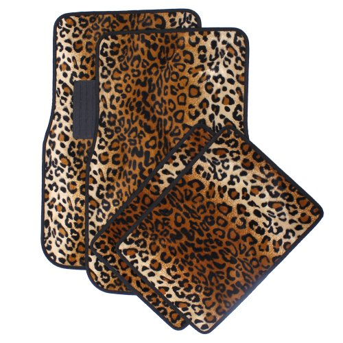 OxGord 4 Piece Leopard Print Carpet-Floor-Mats Set for Car - Rubber-Lined All-Weather Heavy-Duty Protection for All Vehicles, Orange/Brown/Black