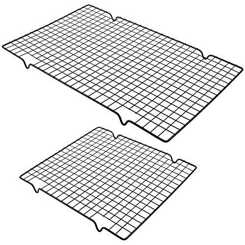 UBERMing 2 Stück Auskühlgitter Kuchen Kühlregal 2 Größen (40 x 25.5 x 2cm/ 28 x 25.5 x 2cm) Kuchengitter Schwarz für Gleichmäßiges und Schnelles Auskühlen zum Backen Räuchern Grillen Auskühlen