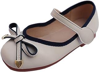 Zapatos de Cuero para niñas Transpirables Antideslizantes Suela Suave Zapatos de Princesa niños Color sólido Bowknot Mary ...
