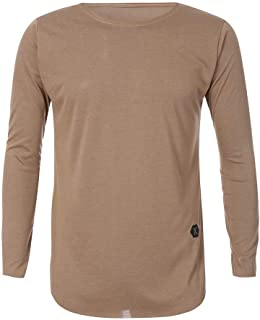 b4a7a1fdd1ee6 OrchidAmor Men Tee Slim Fit O Neck Long Sleeve Muscle Cotton Casual Tops  Blouse Shirts