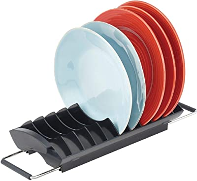 mDesign Compact Over Kitchen Sink Dish & Bowl Drainer and Dryer Rack - Drain and Dry Bowls and Dishes - Metal Wire Drainer - Black with Polished Stainless Steel