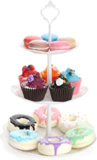 Nuovoware 3-Tier Plastic Cupcake Stand, Desserts Candy Buffet Snack Cookies Fruit Cake Plastic Plate Stand Serving Tray Food Display Tower Stand for Wedding Home Birthday Tea Party, Round, White