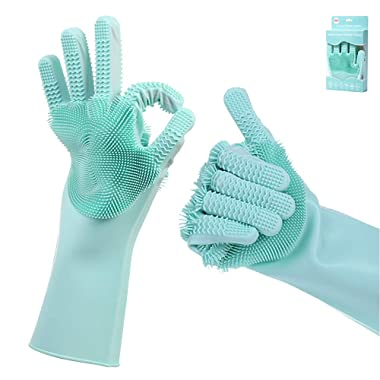 Hatsutec Magic Silicone Cleaning Brushes, Double-Sided Heat Resistant Dishwashing Brushes - Medium, 1 Pair (Green)