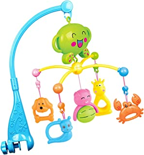 Perfeclan Baby Crib Musical Mobile with Hanging Rotating Cute Plastic Animals - Blue - Blue