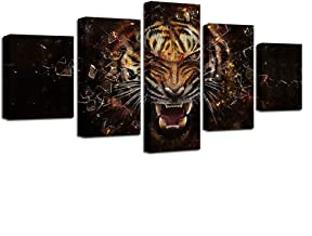 GIKMK Canvas Paintings Modular Home Decor HD Prints 5 Pieces Roaring Tiger Pictures Abstract Animal Poster Living Room Wall Art