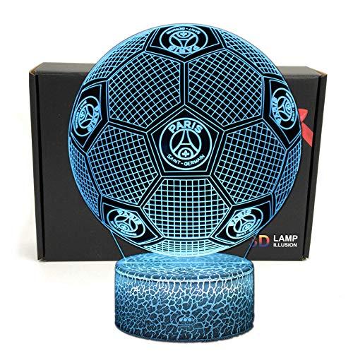 Deal Best Football Forme 3d Illusion Optique Intelligent 7 Couleurs Led Night Light Lampe De Table Avec Câble Dalimentation Usb Paris Saint Germain