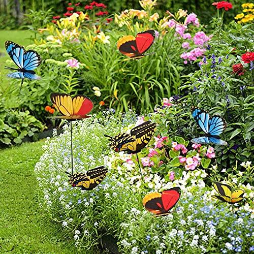 NMSLCNM Garden Schmetterlinge Pfähle, 50/100 StückGarten Schmetterling Ornamente, wasserdichte Schmetterlingsdekorationen für Innen- Außenhof, Patio Pflanzentopf, Blumenbeet, Weihnachtsdekoration
