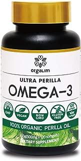 Orgalim Omega 3, 100% Organic Vegetable Perilla Seed Oil 500mg,Vitamin E 120capsule/ALA(Alpha Linolenic Acid), Non-GMO, Burpless, GMP-Certification