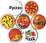 Set of 7 Pizza 1' pins/buttons/badges