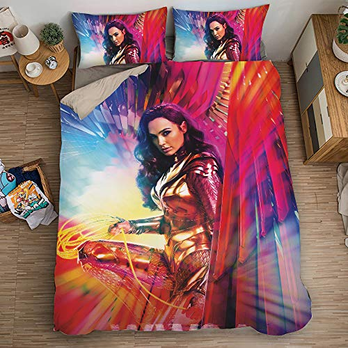 KYNWCLRW Duvet Pillow Set, 3D Digital Print Wonder Woman Bedclothes, Premium Polyester-Cotton Ultra Soft And Hypoallergenicwith Pillow Cases, For Adults (200X250Cm)