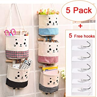 5 Pack Hanging Storage Organizer Hanging Storage Pouch Wall Mounted Storage Pockets Waterproof Wall Door Closet Storage Bag Over The Door Organizer for House Bathroom Office