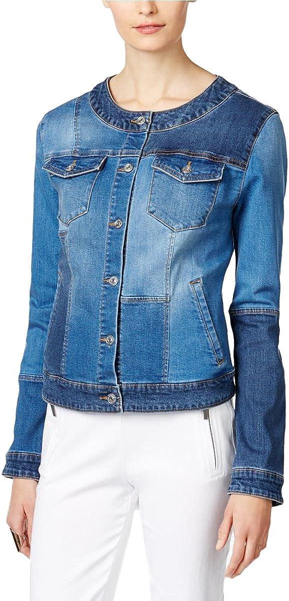 INC Womens Patchwork Trucker Denim Jacket Blue L