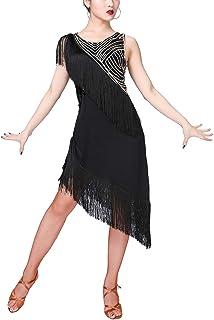 00906f4c Zhhlaixing Vestido de Baile de Salsa para Mujer Cuello Redondo sin Mangas  Alto Asimétrico Bajo Vestido